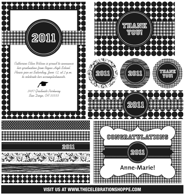 black and white graduation set