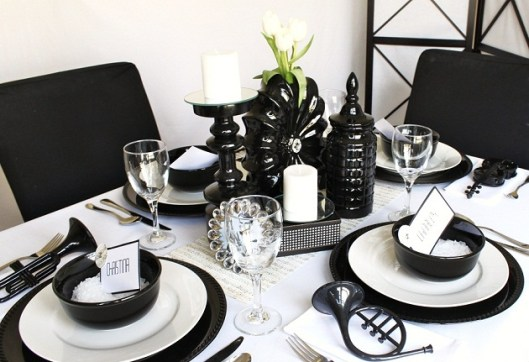 black and white party tablescape