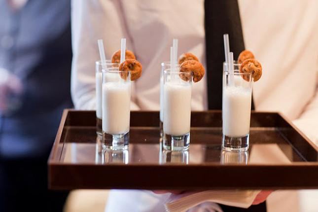 cookies-and-milk treats at grad party