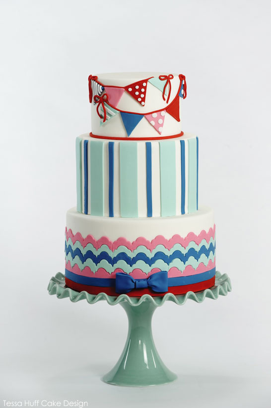 girls nautical banner cake