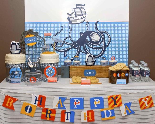 vintage_nautical_birthday_party_dessert_table