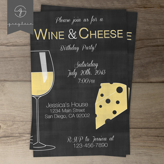 cheese and wine party invitations