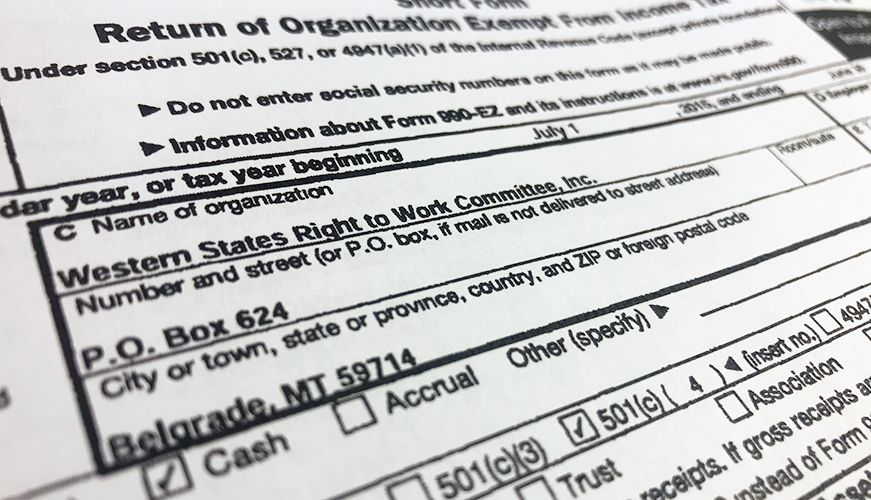 Complaint Dark Money Right To Work group engaged in illegal - federal tax form