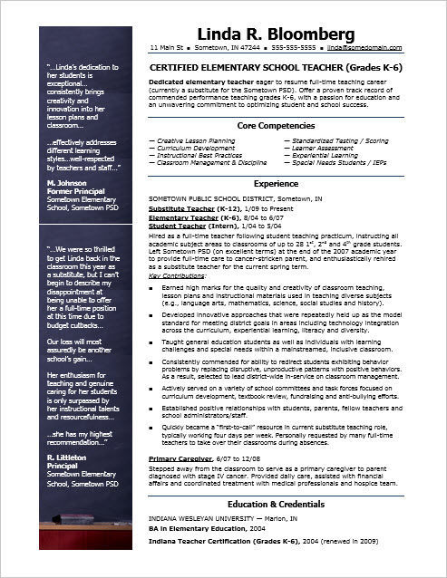 Elementary school teacher resume template Jobs in the Billings