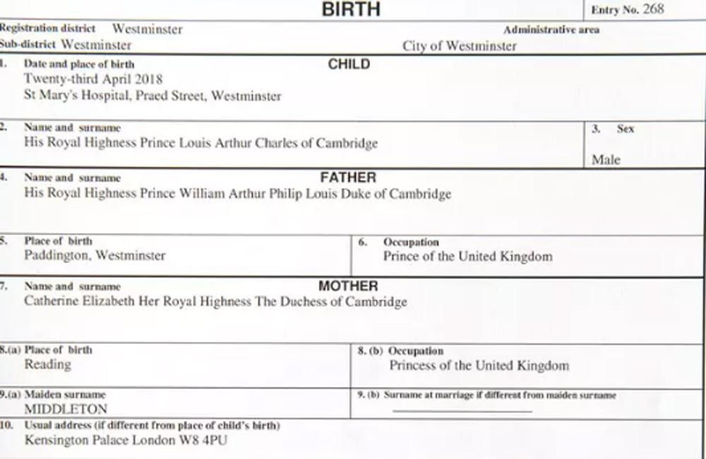 Prince Louis Arthur Charles\u0027 birth certificate revealed - birth certificate