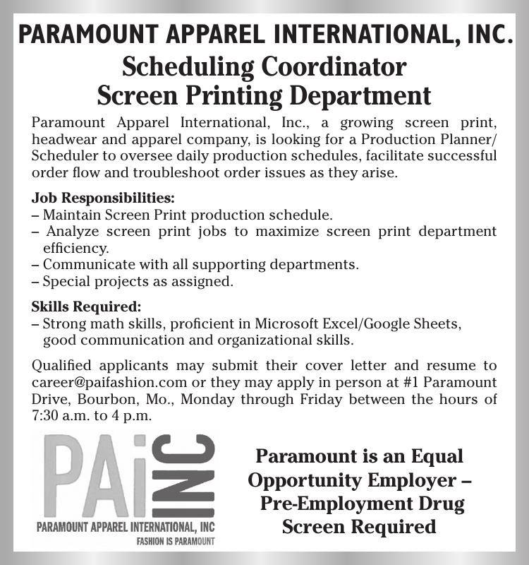 Scheduling Coordinator Print Ads emissourian - scheduling coordinator cover letter
