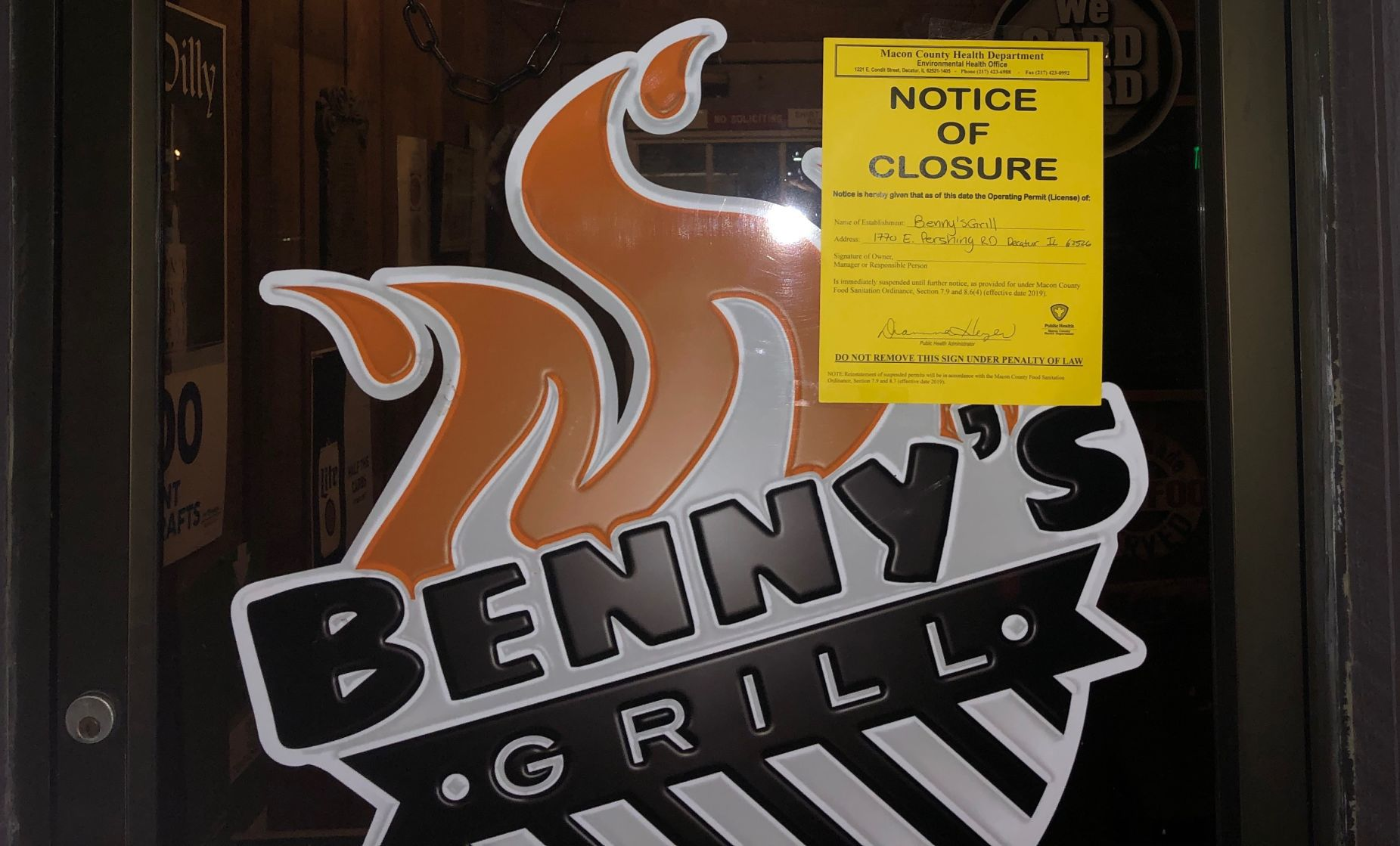 Wand Tv Closings Documents Health Inspector Closed Benny S Grill After Finding