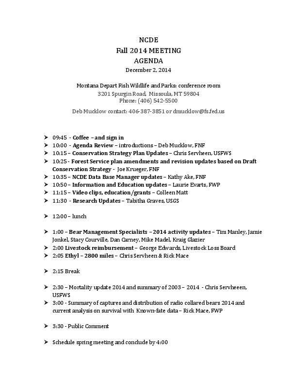 NCDE Grizzly meeting agenda missoulian