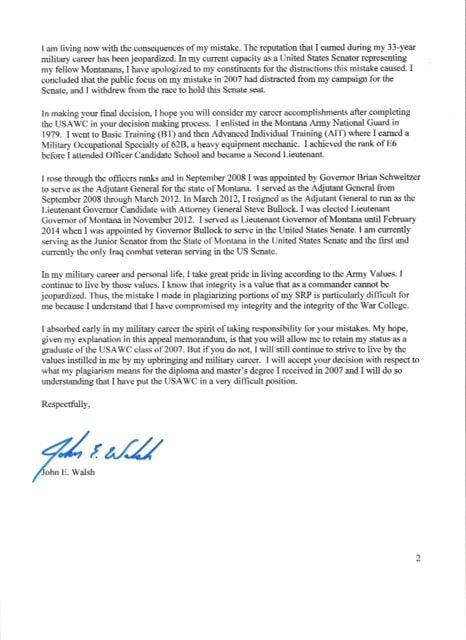 Walsh appeal letter page 2 missoulian