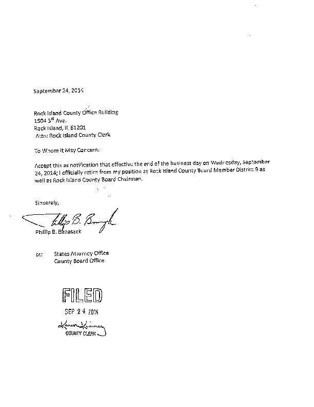 Banaszek retirement letter qctimes