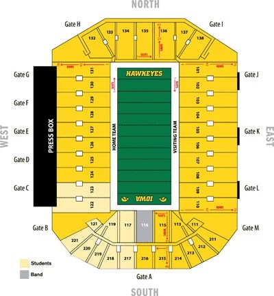 Kinnick Stadium seating chart Iowa Hawkeyes Football qctimes