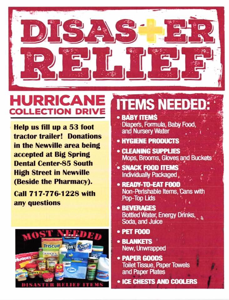 Big Spring Dental, Orrstown Bank collect disaster relief donations - Disaster Relief Flyer