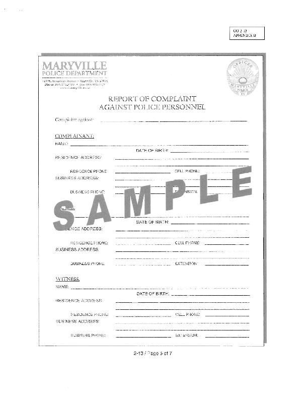 Maryville Police Department Complaint Form News thedailytimes