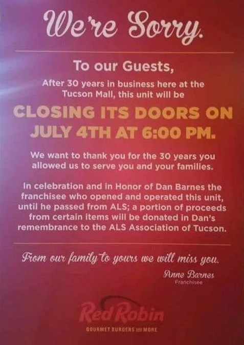 Tucson\u0027s lone Red Robin restaurant will close July 4 Tucson