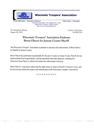 WTA endorsement letter for Sheriff Oleson wiscnews