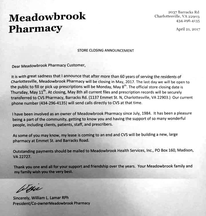 It\u0027s so hard to say goodbye\u0027 Meadowbrook Pharmacy closing after 60 - pharmacy letter