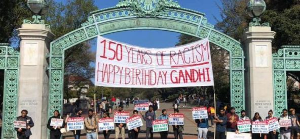 Diverse groups demonstrate against Gandhi's alleged racism, sexual abuse