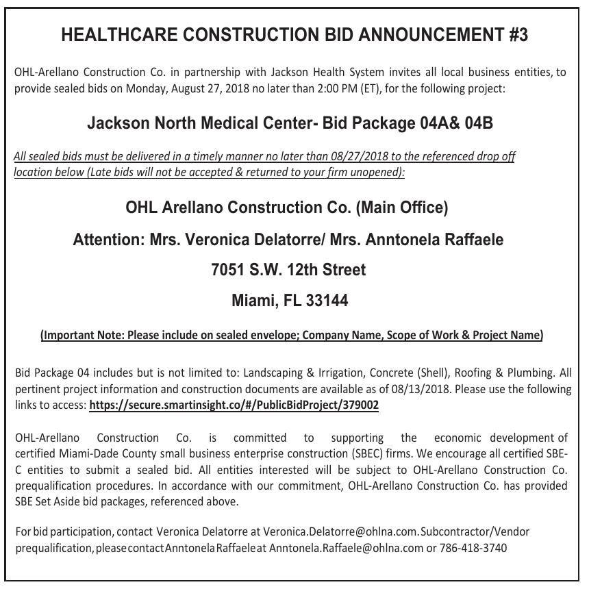 HEALTHCARE CONSTRUCTION BID ANNOUNCEMENT #3 Legal Announcements - construction bid