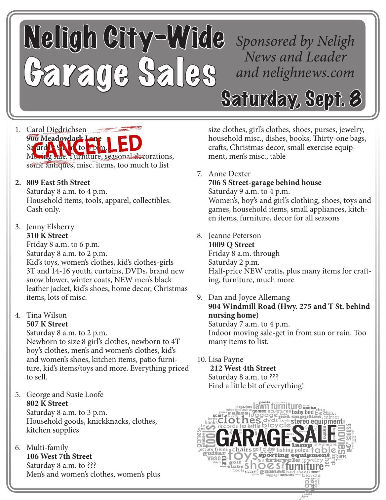 East Garage The Q Fall City Wide Garage Sales 2018 Nelighnews