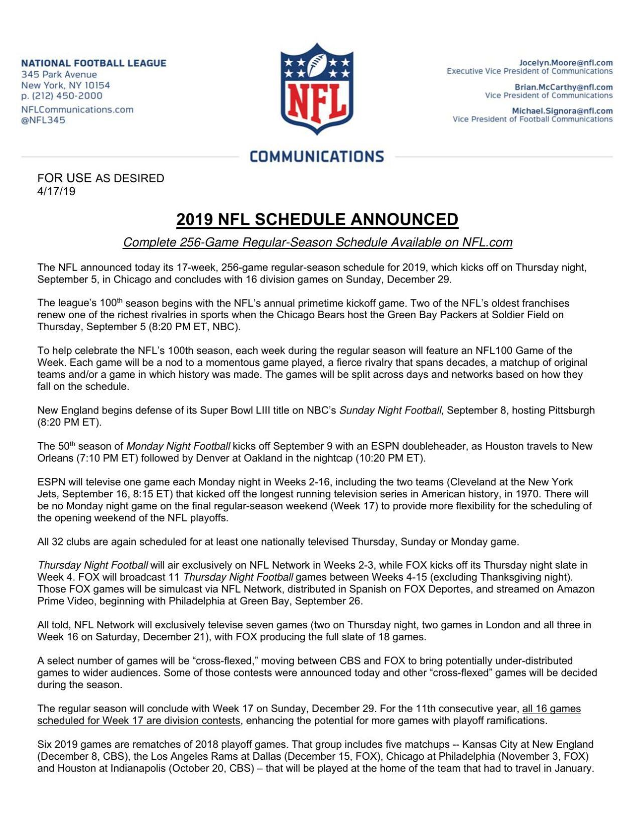 Nfl Schedule Full Nfl Schedule Sports News Daily