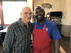 Dainty Town Taping Segment Of Town Taping Segment Chef Michael Symon From Food Network Barbecueshow Raskin Around Chef Michael Symon From Food Network