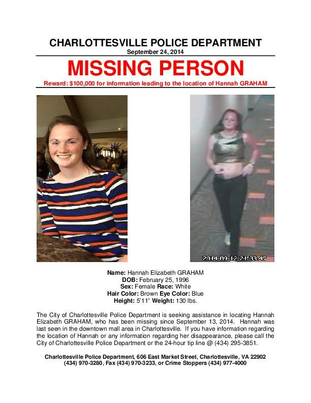 Hannah Graham Missing person poster Virginia richmond - Missing Persons Posters