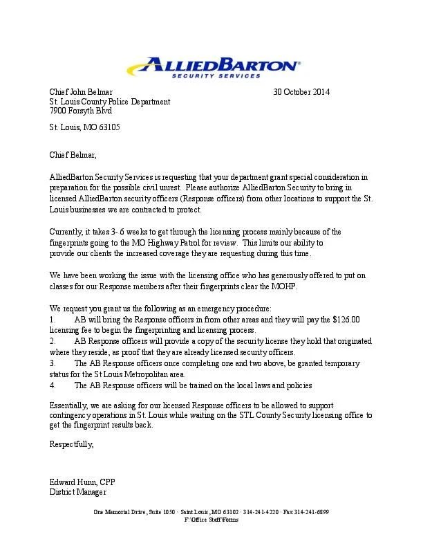 Letter from AlliedBarton Security Services stltoday - allied barton security service