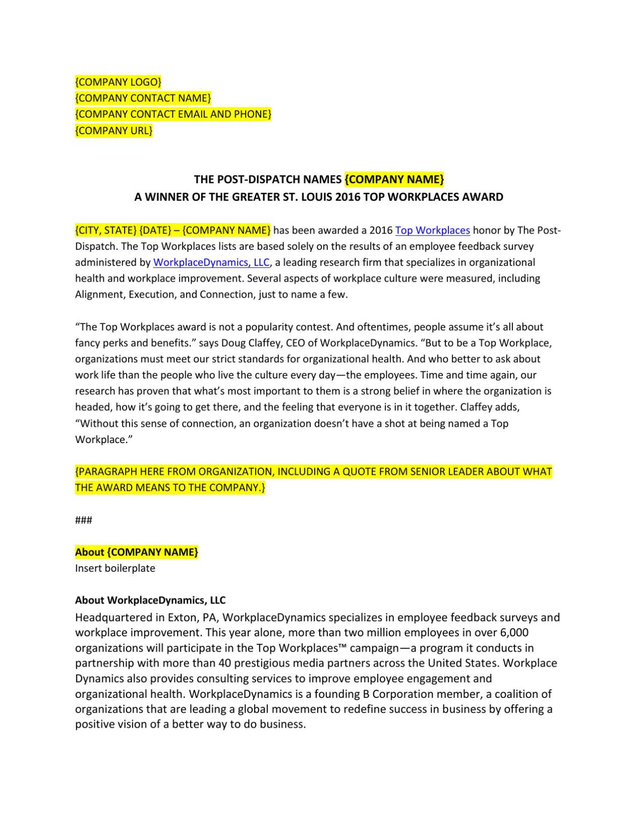 Press Release Template 2016 Press Release Template Top Workplaces Stltoday
