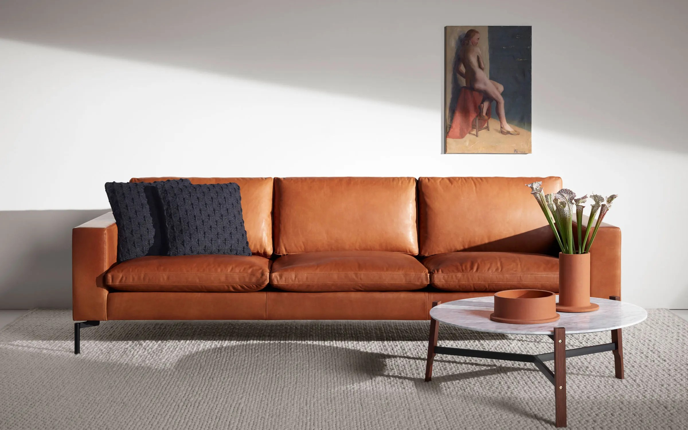 "Modern Sofa New Standard 92"" Modern Leather Sofa 