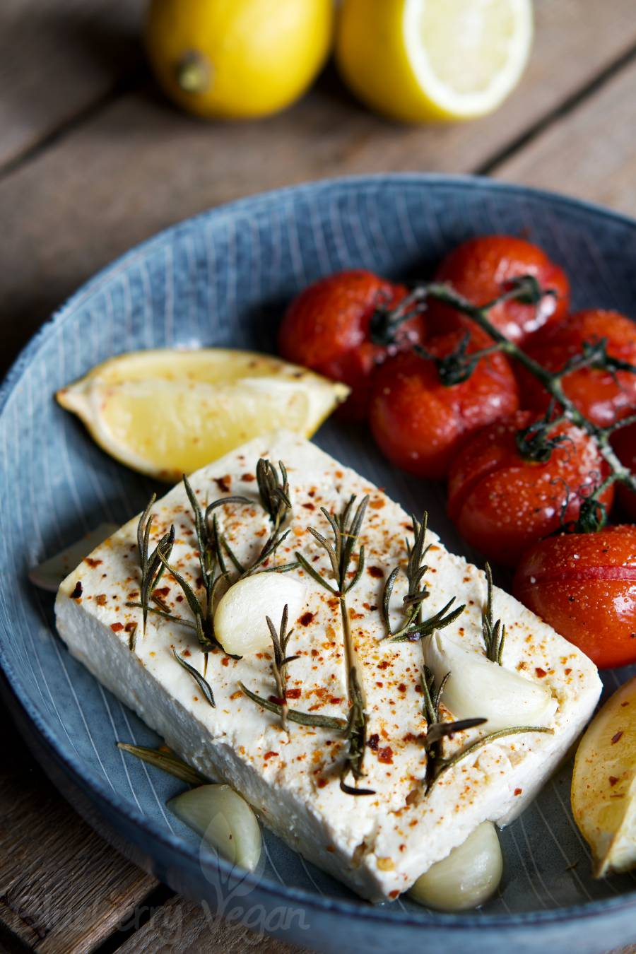 Tomato Wuppertal Baked Tofu With Lemon And Rosemary