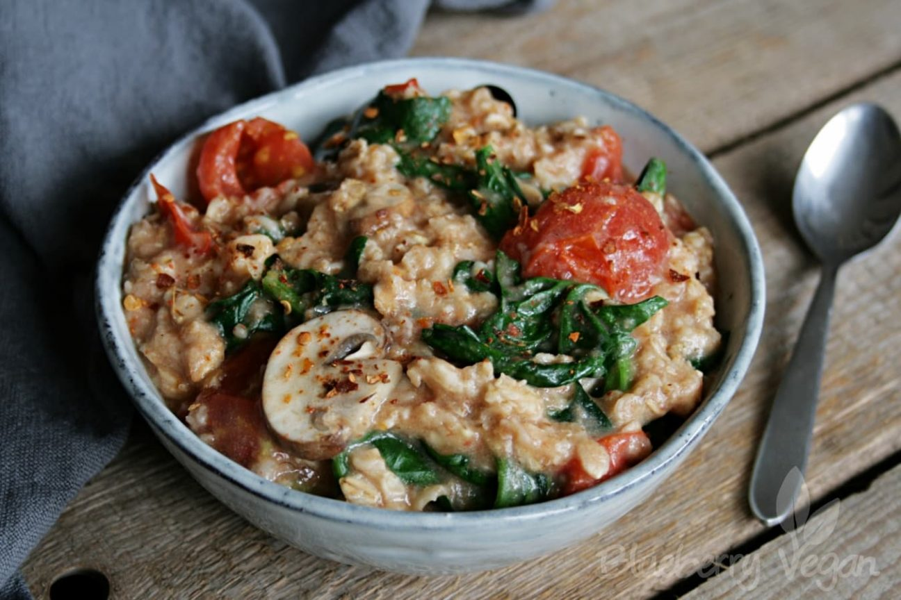 Tomato Wuppertal Savory Porridge With Tomatoes Mushrooms And Spinach
