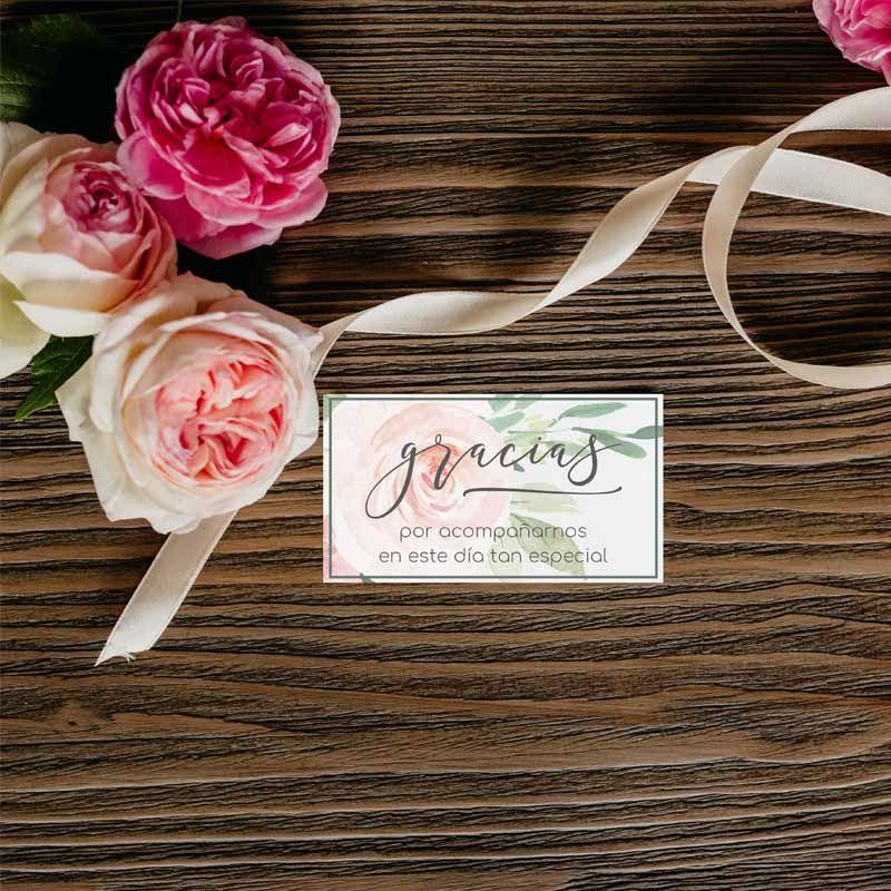 Tarjeta de agrademientos boda con flores Papelería de boda al detalle