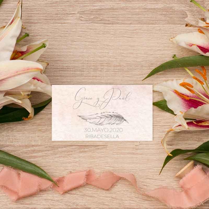 Tarjeta de agradecimientos boda Grace Papelería de boda al detalle