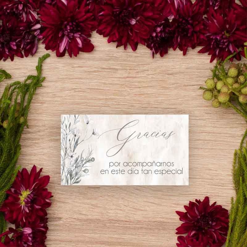 Tarjeta de agradecimientos boda Lionetta Papelería de boda al detalle