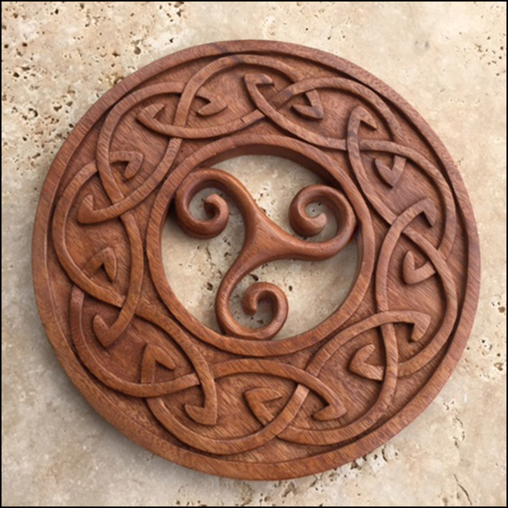 Tris triskel inside circle knot celtic viking and