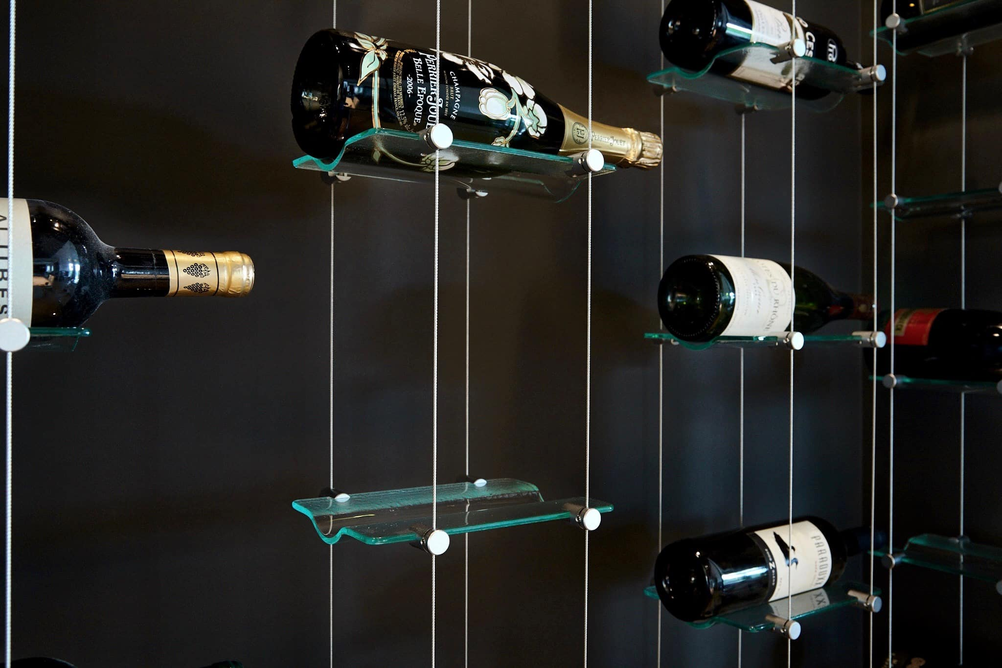 Wine Rack Wire Float Wine Display And Racking System With Cables And Glass