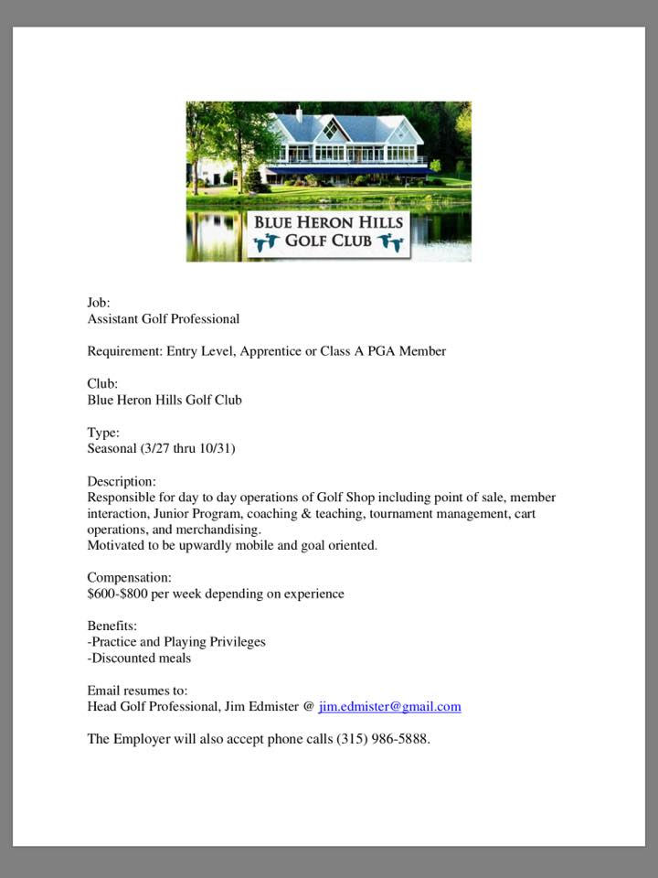 Job Opportunities - The Golf Club at Blue Heron Hills