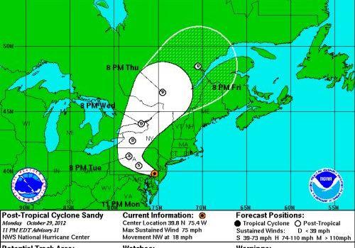 Hurricane Sandy 29 10 2012 evening