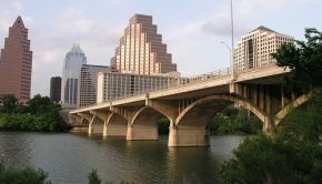 Congress Avenue Bridge in Austin, Texas spans the Colorado River