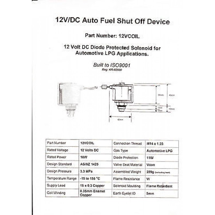 LPG Tank 12 Volt Lock Off Solenoid Valve - 12Vcoil