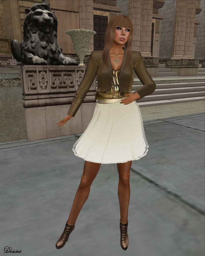 Baiastice - Kaji Jacket camel and Tulle Skirt gold