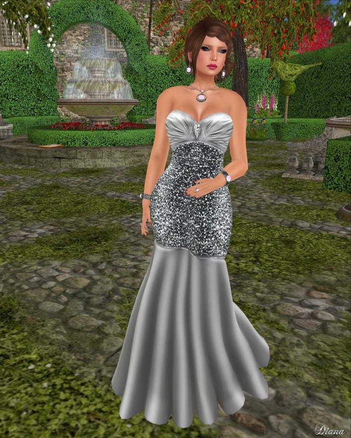 !Rebel Hope - Brandi Mesh Formal Gown Platinum