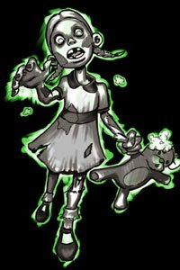 A zombie girl with a mangled teddy bear lurches forward.