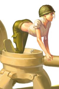A shapely woman crawls out of a very small tank.