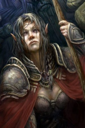 A weary elf warrior rests for a moment in her plate armor.