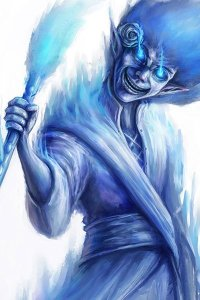 A creature with blue hair, and blue glowing eyes in shrouded in blue flame.