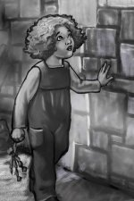 A young girl runs her hand along an stone wall.