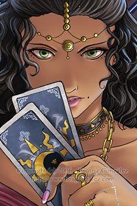 A beautiful woman with dark, wavy hair holds two tarot cards before her.