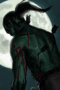 A humanoid with several arrows embedded in his back slumps under a full moon.