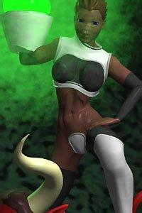 A sexy woman in futuristic armor poses above a fallen demon.